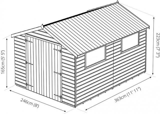 12 x 8 Mercia Premium Shiplap Shed with Double Doors - Pressure Treated - Dimensions