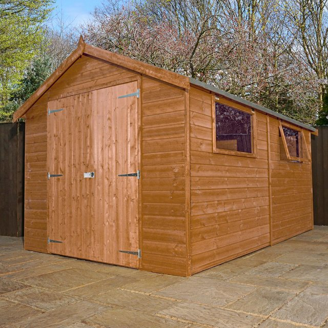 12 x 8 Mercia Premium Shiplap Shed with Double Doors - Pressure Treated - Background with doors clos