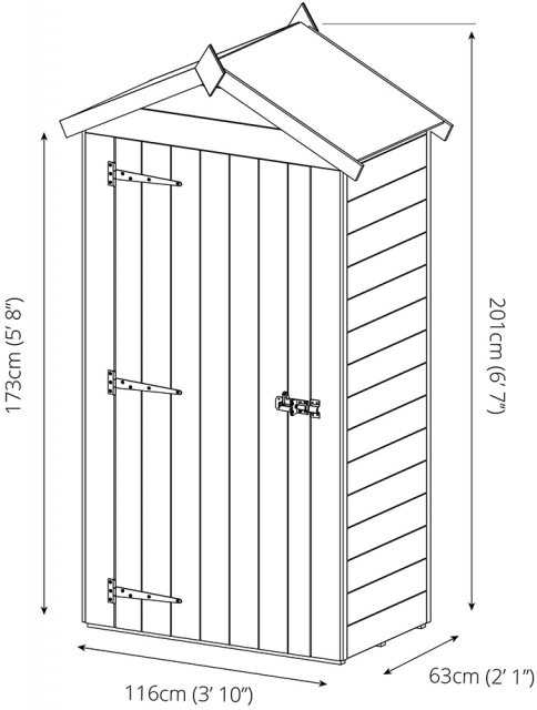 2x4  Mercia Tongue & Groove Sentry Box Shed - Pressure Treated