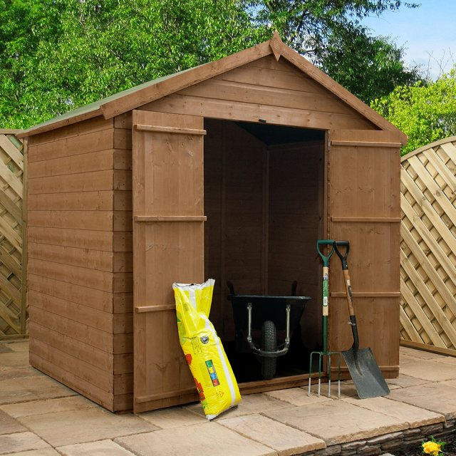 4x6 Mercia Shiplap Shed - Pressure Treated - with background and doors open