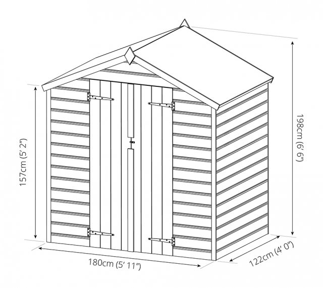Mercia 4 x 6 (1.23m x 1.89m) Mercia Shiplap Apex Shed with Double Doors - Pressure Treated