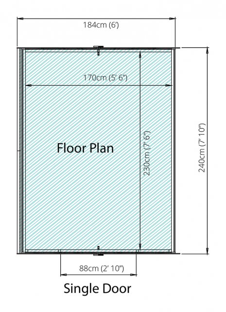 8 x 6 (2.40m x 1.90m) Mercia Overlap Windowless Shed - Floor Plan