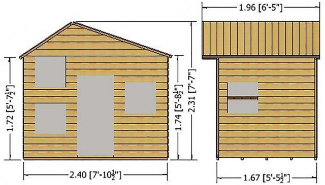 Shire Loft Two Storey Playhouse - Dimensions