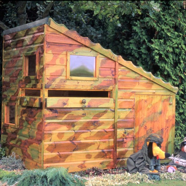 Shire Command Post Playhouse painted by customer in camouflage colours