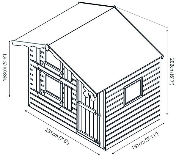 7 x 5 Mercia Snowdrop Double Storey Playhouse - dimensions