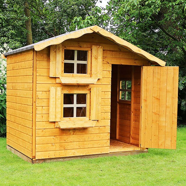 7 x 5 Mercia Snowdrop Double Storey Playhouse - unpainted 3/4 view
