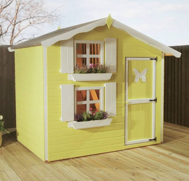 7 x 5 Mercia Snowdrop Double Storey Playhouse -  painted yellow