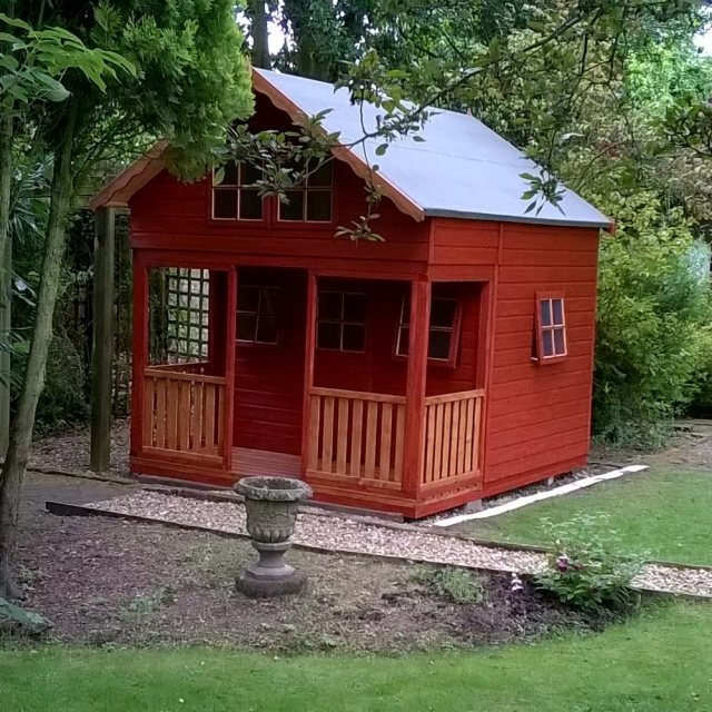 Shire Lodge Two Storey Playhouse - Finished in wood stain