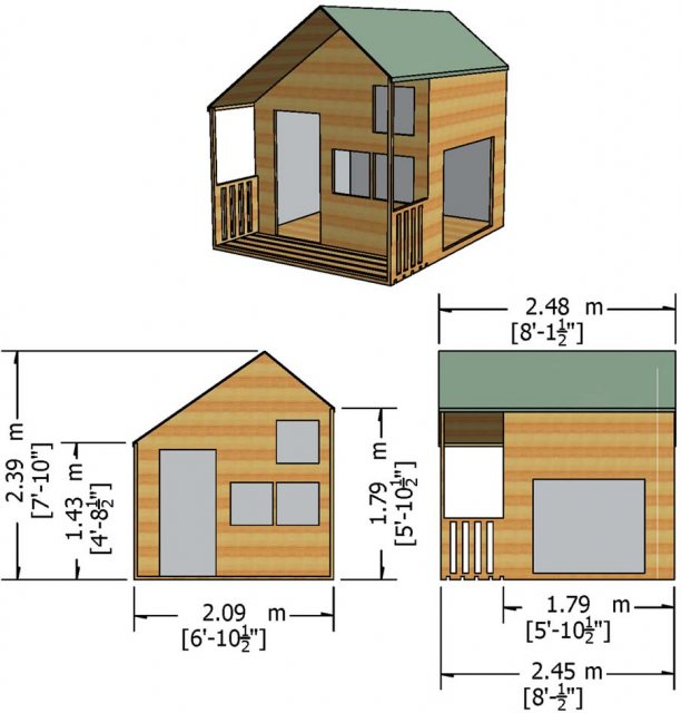 Shire Crib Playhouse with Integral Garage - Dimensions