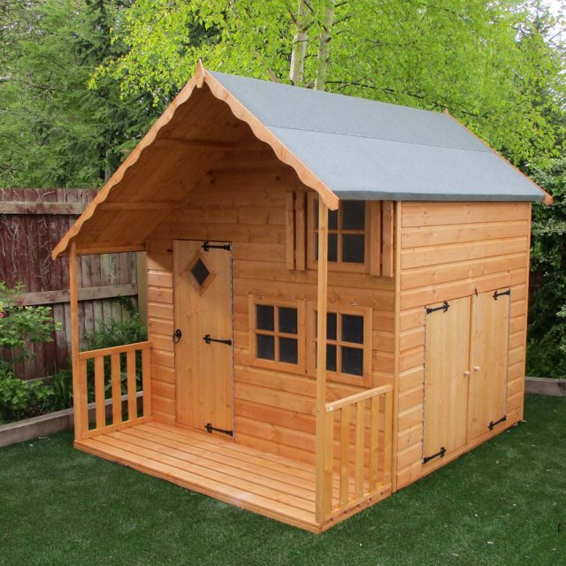 Shire Crib Playhouse with Integral Garage - Unpainted