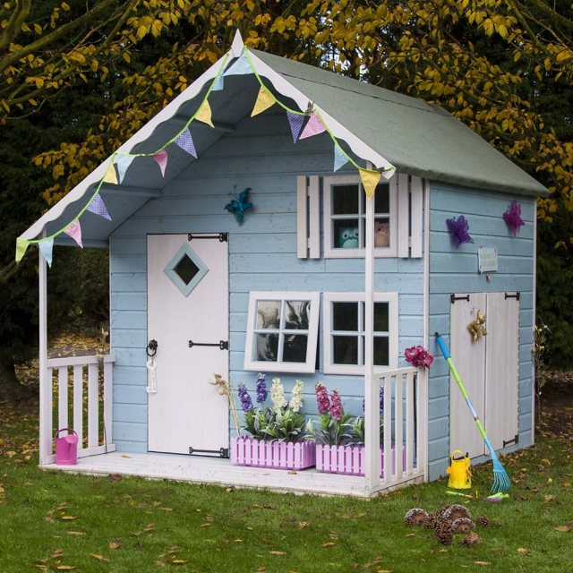 Shire Crib Playhouse with Integral Garage - Decorated for a girl