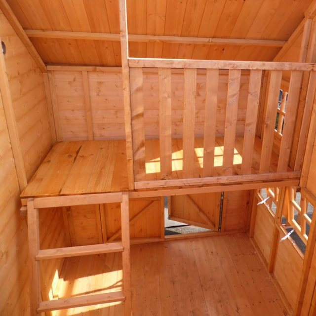 Shire Crib Playhouse with Integral Garage - Interior showing bunk and ladder