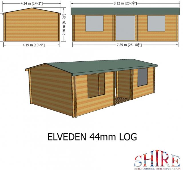 26 x 14 Shire Elveden Log Cabin - Dimensions