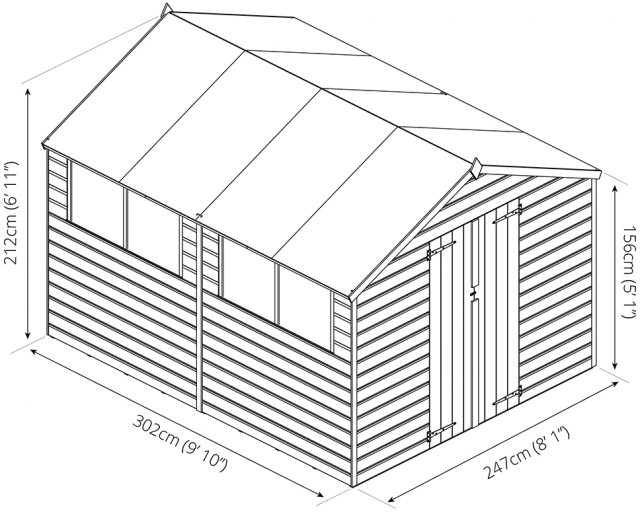 Mercia 10 x 8 (3.02m x 2.48m) Mercia Shiplap Shed with Double Doors - Pressure Treated