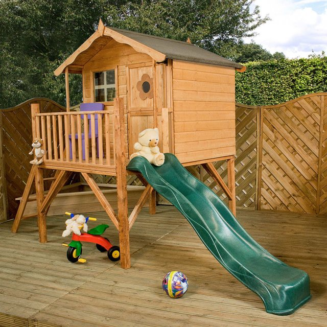 Mercia 5 x 7 (1.50m x 1.98m) Mercia Tulip Tower Playhouse with Slide