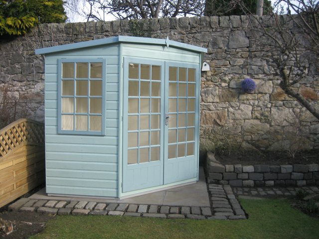 8 x 8  Shire Gold Windsor Corner Summerhouse - painted side view