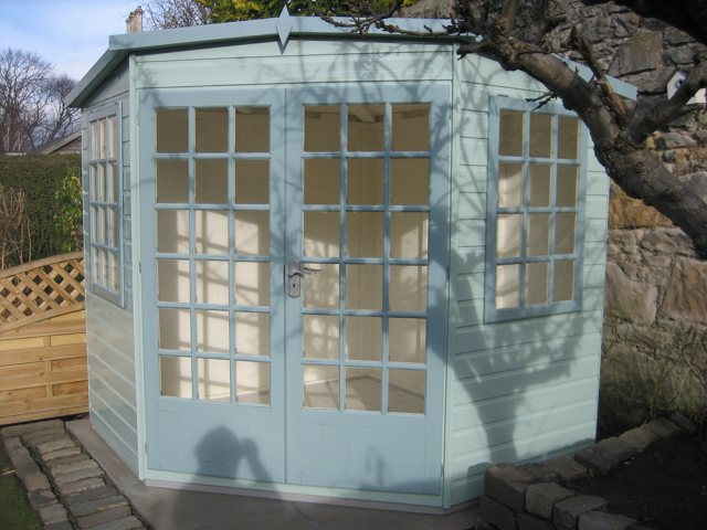 10 x 10 Shire Gold Windsor Summerhouse - painted front view