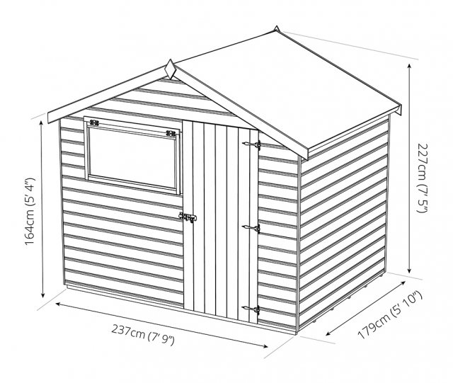 6x8 Mercia Shiplap Shed - Pressure Treated - dimensions
