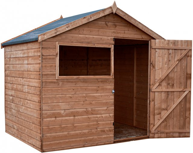 6x8 Mercia Shiplap Shed - Pressure Treated - without background and door open