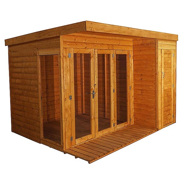 10 x 8 (3.13m x 2.50m) Mercia Garden Room Summerhouse with Side Shed