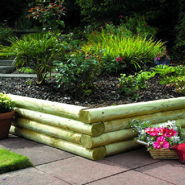 Grange 4ft (1.2m) Long Grange Rounded Garden Sleepers (Pack of 4)
