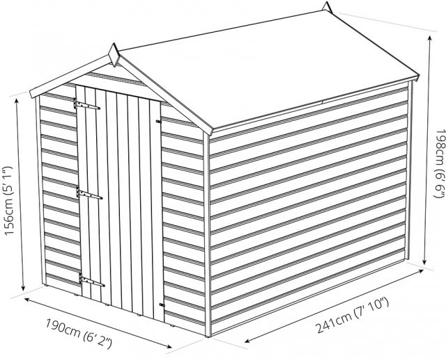 8x6 Mercia Shiplap Windowless Shed - Pressure Treated - dimensions