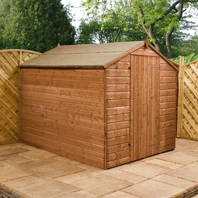 8x6 Mercia Shiplap Windowless Shed - Pressure Treated - with background and door closed