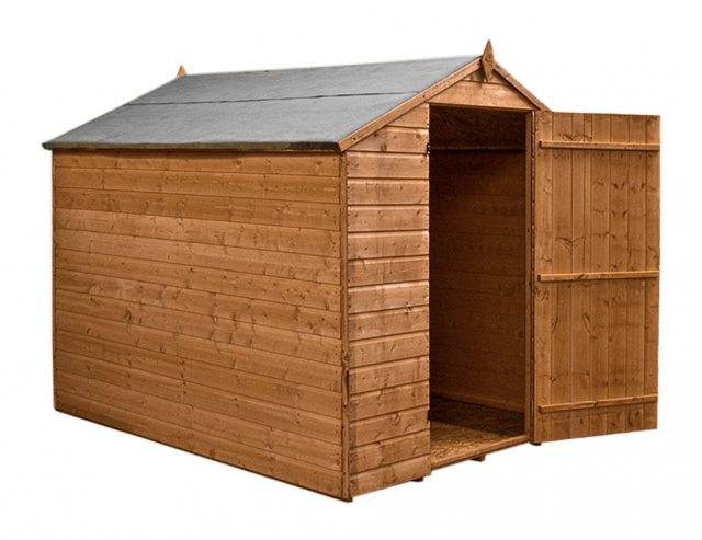 8x6 Mercia Shiplap Windowless Shed - Pressure Treated - without background and door open