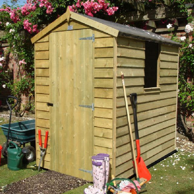6 x 4 Overlap Apex Garden Shed - Pressure Treated