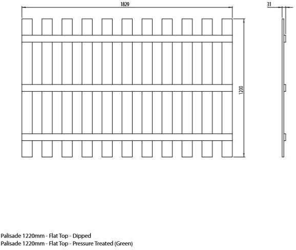 Mercia 4ft High (1220mm) Mercia Palisade Flat Top Fence Panels - Pressure Treated