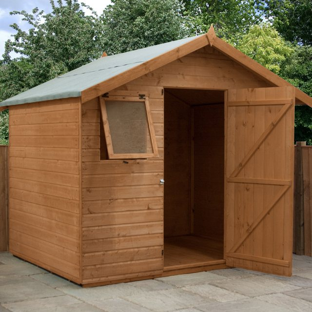 6x8 Mercia Premium Shiplap Shed - Pressure Treated - with background and door open