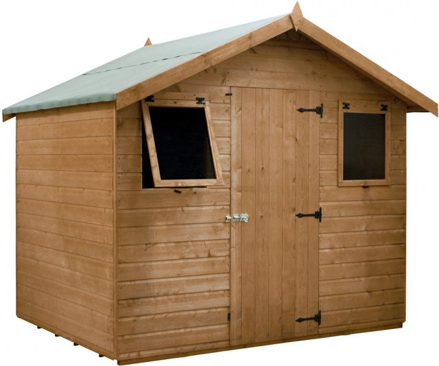 6x8 Mercia Premium Shiplap Shed - Pressure Treated - without background and door closed