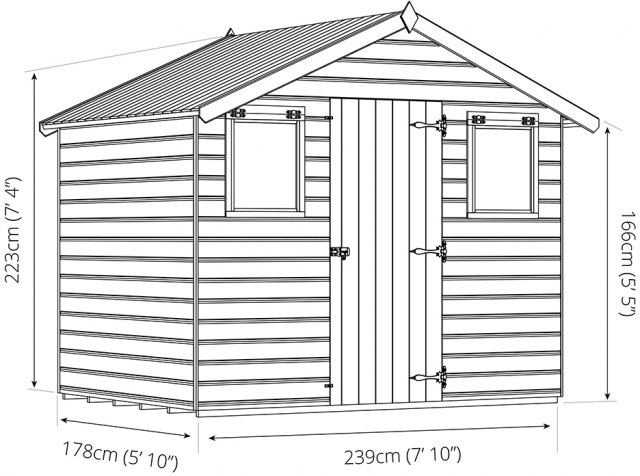 Mercia 6 x 8 (2.10m x 2.62m) Mercia Premium Shiplap Shed with Single Door - Pressure Treated