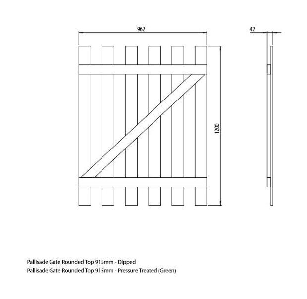 Mercia 3ft High (915mm) Mercia Round Top Palisade Gate - Pressure Treated