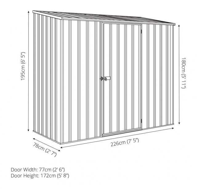 7 x 3 Mercia Absco Space Saver Pent Metal Shed - Dimensions