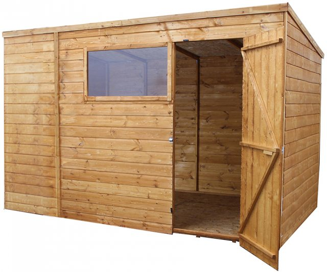 8 x 10 (2.40m x 3.14m) Mercia Shiplap Pent Shed with Single Door