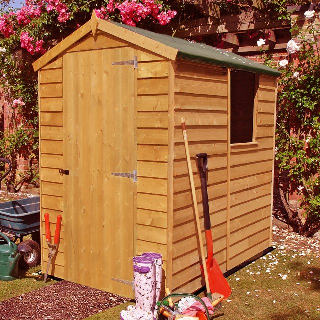 6 x 4 Overlap Apex Garden Shed with Single Door