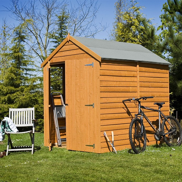 Shire 7 x 5 (2.04m x 1.61m) Shire Overlap Apex Garden Shed with Double Doors