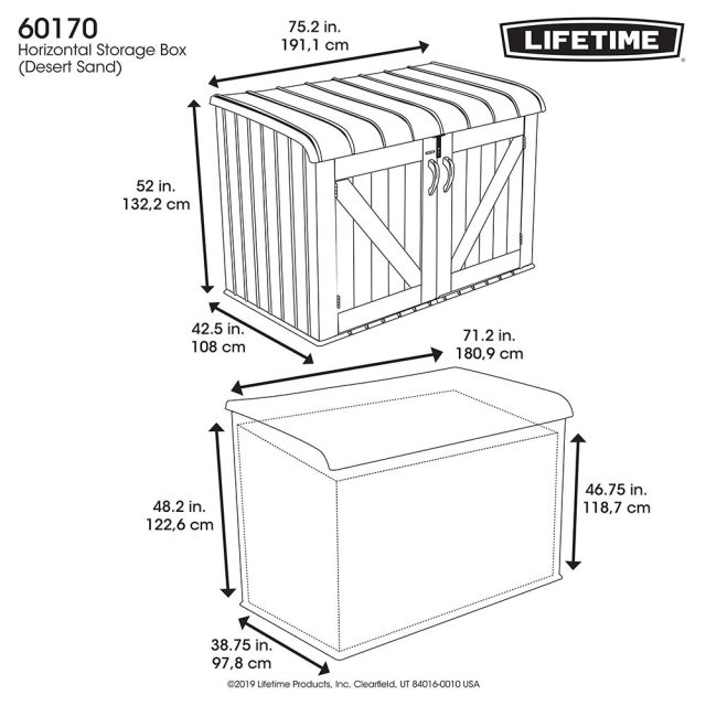 6 x 4 (1.90m x 1.07m) Lifetime Plastic Storage Unit