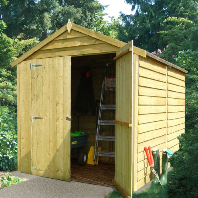 8 x 6 (2.44m x 1.86m) Overlap Windowless Shed with Double Doors - Pressure Treated