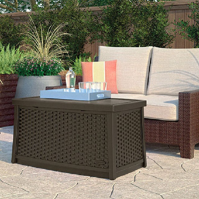 Suncast Suncast Rattan Style Coffee Table with Storage - 113.5 Litre Capacity
