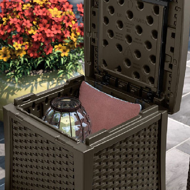 Suncast Suncast Rattan Style Deck Box and Side Table - 49  Litre Capacity