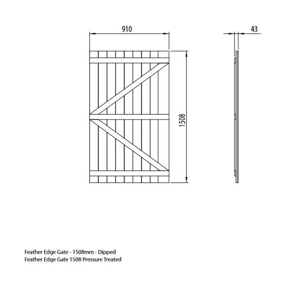 Mercia 5ft High (1508mm) Mercia Vertical Feather Edge Gate - Pressure Treated