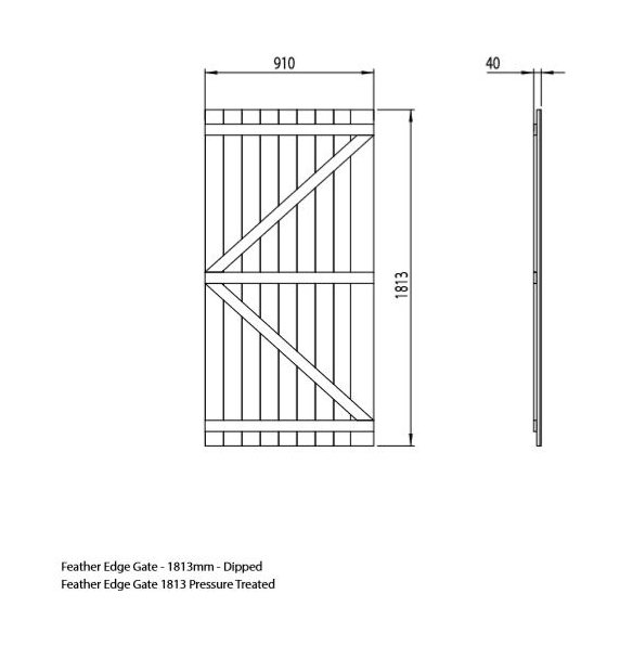 Mercia 6ft High (1803mm) Mercia Vertical Feather Edge Gate - Pressure Treated