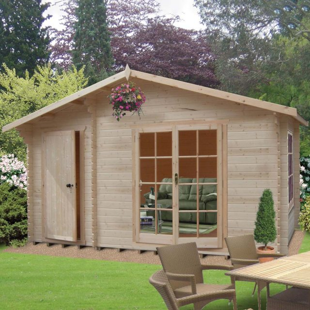14 x 8 Shire Bourne Log Cabin with Side Storage