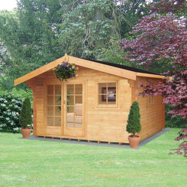 10G x 12 (2.99m x 3.59m) Shire Tunstall Log Cabin - with background