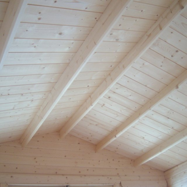 10G x 12 (2.99m x 3.59m) Shire Tunstall Log Cabin - roof and roof bearers