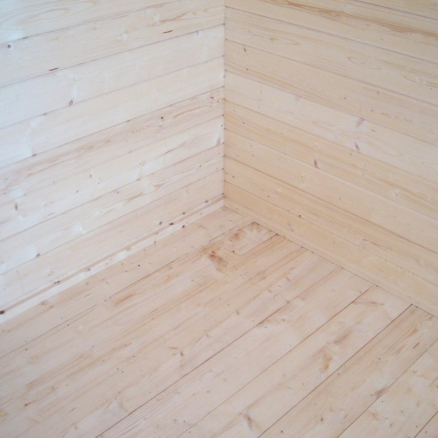 12Gx12 Shire Tunstall Log Cabin - tongue and groove floor with skirting board