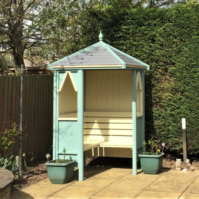 Shire Honeysuckle Corner Arbour - painted in turquoise