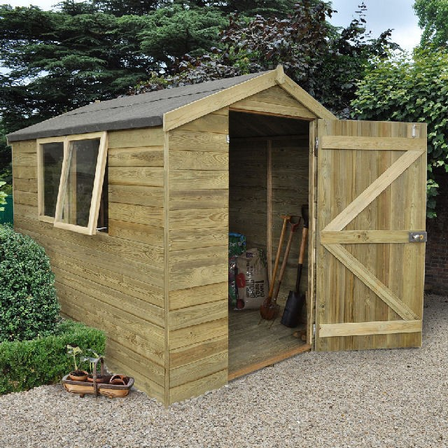 8 x 6 (2.44m x 1.83m) Forest Shiplap Pressure Treated Apex Shed